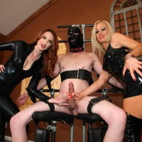 Non nude nymphs Zoey and Kendra reject a masked male submissive from having an orgasm