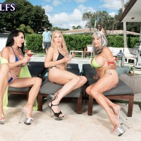 Granny adult video starlet Rita Daniels and her wives entice the pool cleaning men