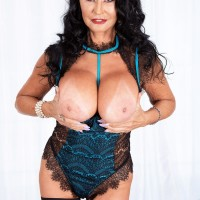 Grandma XXX star Rita Daniels unveils her monster-sized boobs before sucking and wanking a dildo