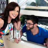 60 Plus MILF Cashmere gets nailed by a younger guy after seducing him thru a window