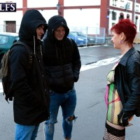 60 plus red-haired Caroline Hamsel seduces a couple of dudes on the street in slutwear