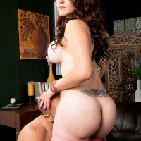 Humungous boobed dark-haired Carmen Ross bares her huge bouncy ass before getting on top