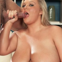 Platinum-blonde BIG SEXY LADY Anna Kay titty smothers her guy after oral and vaginal sex takes place