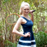 Blue saw light-haired teen Alli Rae flashes her giant boobs outdoors in a thong and OTK socks