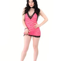 Brunette solo female Quinn Lindemann removes her tempting lingerie before dildo play
