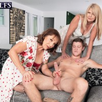 Grandmother XXX starlet Luna Azul and a nan mate of hers disrobe and blow a younger stud