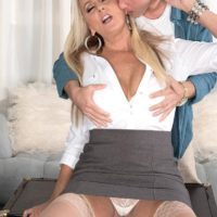 Provocative experienced broad Dallas Matthews exposes her lace panties while seducing a dude