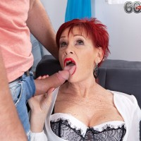 Old redhead Caroline Hamsel deep throats and pounds a man after he catches her masturbating