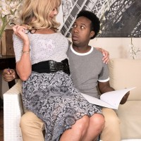 Tempting granny Mia Magnusson gets boned doggy style after seducing a ebony man