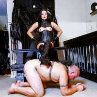 Dark haired doll Michelle Lacy dominates her subby hubby submissive in hip highs