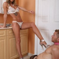 Gangly blond gf Alexia Jordon has her sub guy tongue her from behind