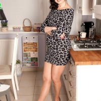 Bony cougar Lorenzia entices the handyman in a short sundress and hose
