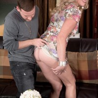 Accomplished sandy-haired doll Val Kambel has her thong attired ass and a tit bared for her