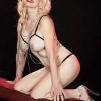 Expert blond Cammille Austin wears nip forceps while strutting semi-transparent lingerie