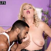 Gorgeous elder blonde Lady Dulbin tempts a younger boy in a hot lingerie ensemble