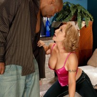 beguiling grandmother Luna Azul seduces a junior ebony dude in satin lingerie and jeans on a bed