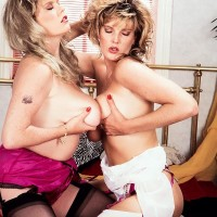 sapphic pornographic starlet Cathy Patrick and her wife play with each other big tits