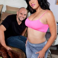 chunky Latina check with tattoos Angelina has her massive booty liberated from jeans by a man