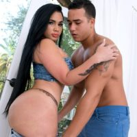Brunette girl Destiny entices a shirtless man by showing him her monster-sized buttocks