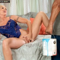 Inviting light-haired grandmother Honey Ray has her vagina sucked out by a junior black dude