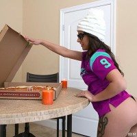 PAWG Jynx Labyrinth takes a hefty dick up her rectum during a football and pizza party