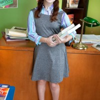 Slightly legal year old schoolgirl with crimson hair Jennifer Matthews gets disrobed by her schoolteacher