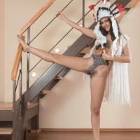 Barefooted Euro first-timer Pavla opening up furry cooch wide open in cosplay attire