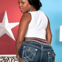 Black solo model Jayden Starr letting out huge ass from denim shorts and g-string underwear