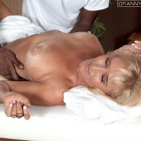 Golden-haired grandmother Brittney Snow gets seduced by her ebony massage therapist