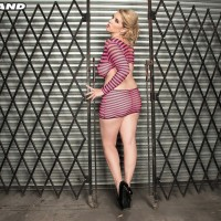 Blonde MILF Rockell reveals her massive all-natural boobies from a revealing sundress in solo action