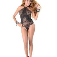 Brazilian solo female Luna Corazon Deep throats a dildo after ditching see thru lingerie