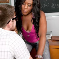 Dark-haired chick Serenity Evans vaunting panty outfitted big butt in classroom