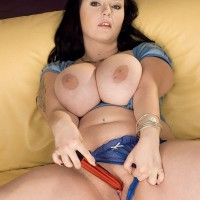 Black-haired thick Denisa loosing nice fun bags and bald cooter in heels