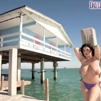 Chesty Latina MILF pornstar Daylene Rio showing off humungous ass and hairless honeypot