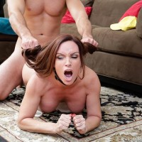 Huge-chested MILF Diamond Foxxx has her hair pulled while getting bum screwed on a rug