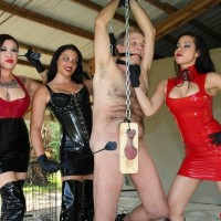 Merciless females with dark hair torture a masculine sub dressed in spandex and long boots