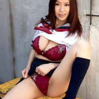 Adorable Asian solo chick Ria Sakuragi letting giant natural titties free from sailor uniform