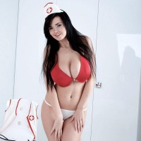 Black-haired nurse Sha Rizel removes her uniform to pose in her bra and bloomers