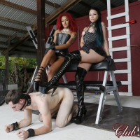Domina Daisy Ducati and her mistress dominate a masculine sub in high-heels