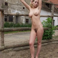 Chick next door type rides her horse in the nude before showing fur covered gash in field