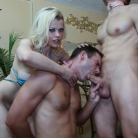Seductive ash-blonde Nadia White makes a male submissive blow off a penis before foot idolizing