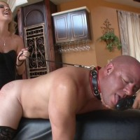 Super-sexy golden-haired girlfriend Ashley Edmunds makes her sub hubby lick her strap-on penis