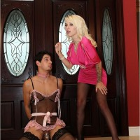 Seductive golden-haired mistress Victoria puts her sissy spouse Stevie into lingerie and pantyhose