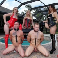 Super-sexy females in spandex apparel and thigh high boots manhandle collared masculine subs by a pool