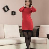Long-legged Euro first-timer Slava Sanina flaunting wooly honeypot in black hosiery