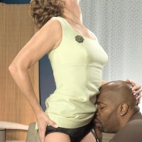 Lengthy legged grandmother Avalynne O'Brien entices a ebony dude in tights and garters