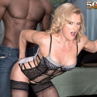 Experienced fair-haired Amanda Verhooks salutes her younger ebony lover in wondrous lingerie
