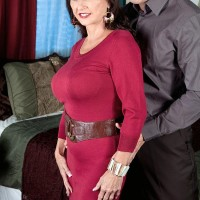 Elderly dame Ciara is stripped to her brassieres and undies in a bedroom by her paramour