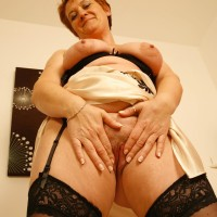 elderly ginger-haired wife whips out hefty all-natural boobs after flashing no panty upskirt
