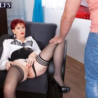 Old red-haired Caroline Hamsel deep-throats and pulverizes a dude after he catches her masturbating